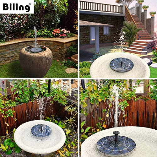 Biling Solar Bird Bath Fountain Pump, 2.5W Solar Fountain Pump with 800 mAh Battery Backup, Free Standing Solar Powered Water Fountain Pump for Bird Bath Garden Pond Pool Outdoor