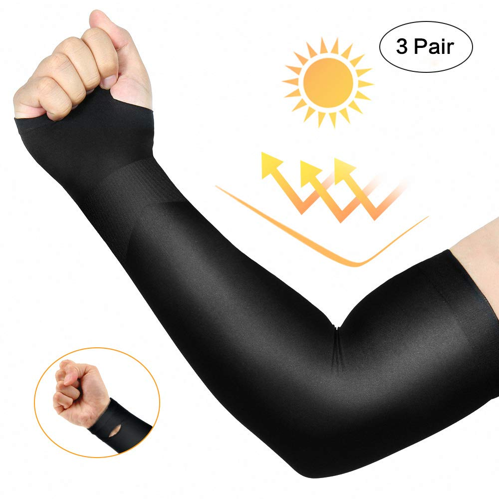 Deals on Isnowood 3 Pairs Long Cooling Arm Sleeves UV Sun Men Woman Kids