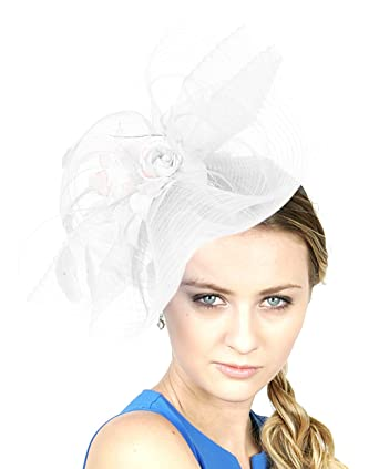 NYfashion101 Glittered Center Rose Jeweled Feather Ruffle Sinamay Fascinator at Amazon Womens Clothing store: