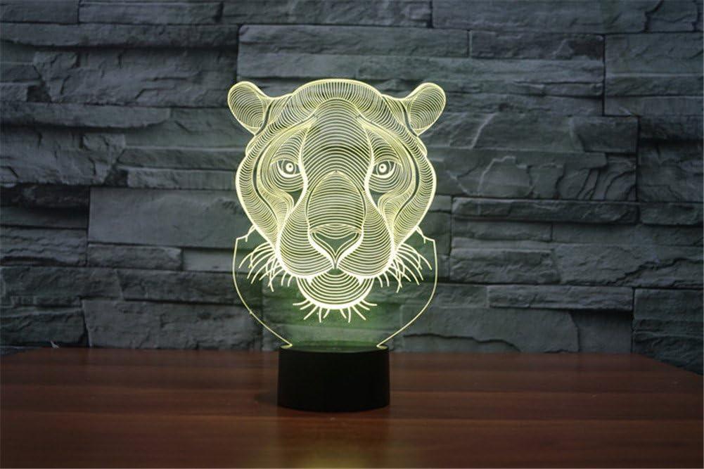 PROW® Nouvelle tête de lion des animaux superbes effets d'éclairage hallucinations visuelles lumière de nuit LED 3D Lampe de table