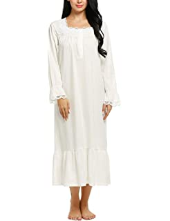 069deeeac6d1c6 EKOUAER Damen Nachthemd Warm Baumwolle Nachtkleid Viktorianischer  Nachtwäsche Schwangere Schlafangue Langarm Pyjama Schlafhemd Umstandskleid  Stillnachthemd
