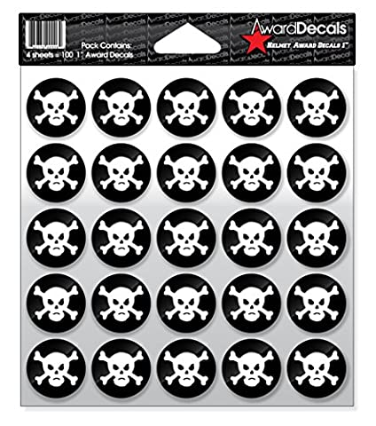Award Decals Skull and Crossbone (White on Black)