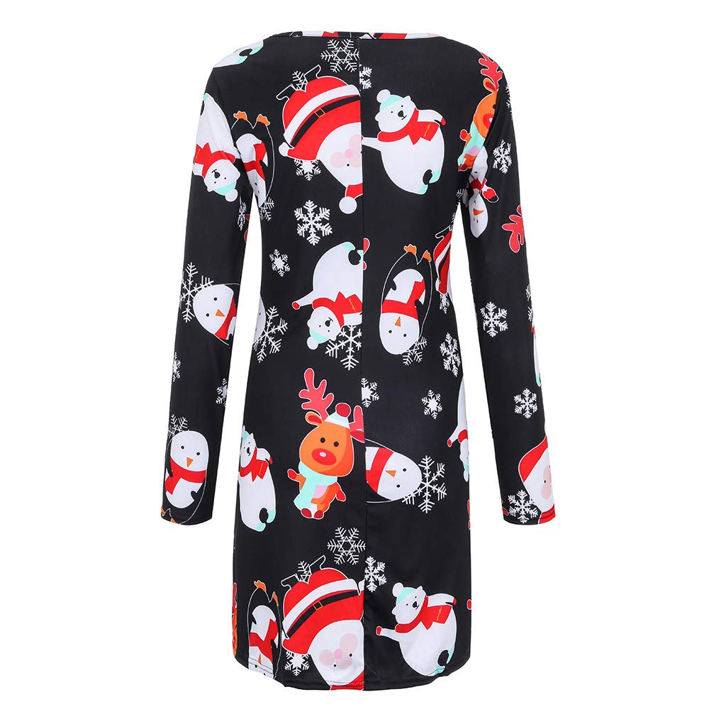 POIUDE Clearance Christmas Women Dress Fashion Vintage Cartoon Snowman Print Mini Dress POIUDE-baby clothes