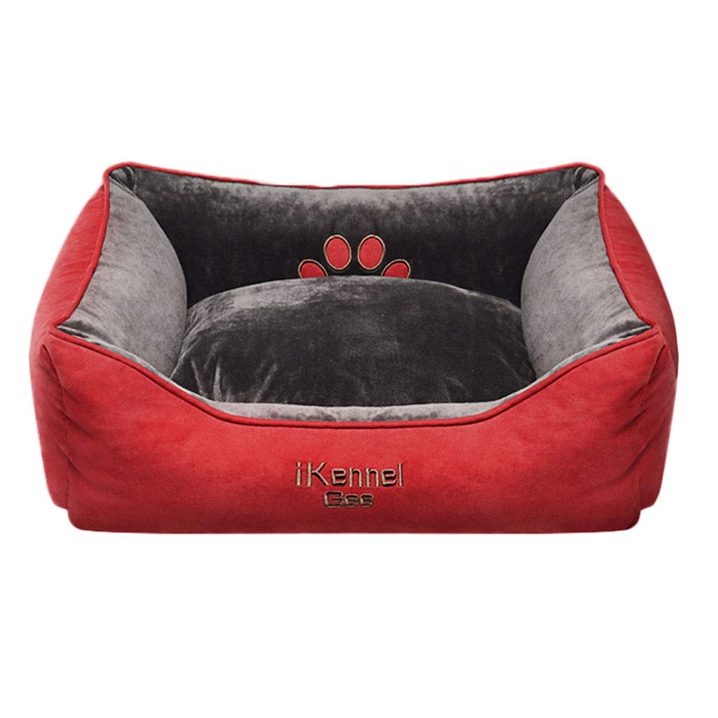 Red 96×75×22cmHidog A++ Suede Doublesided Pet Nest, Home golden Hair Small Medium Large Cat Dog Bed, Four Seasons Universal Pet Nonslip Mat (color   Red, Size   96×75×22cm)