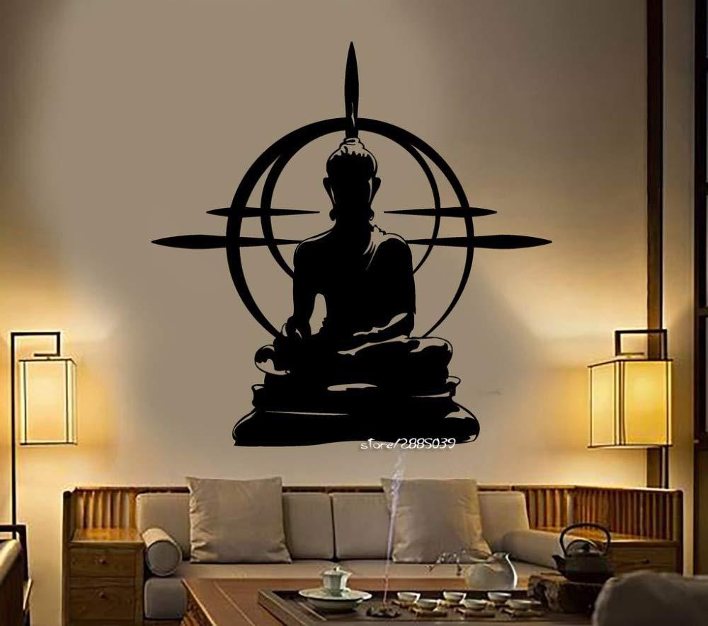 Buddha Vinyl Wall Stickers Removable Wall Decals Chakra Mandala Mantra Chakra Meditation Sticker Decor yoga Room Poster 56x89cm