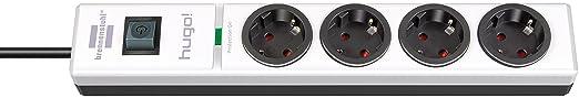 Brennenstuhl hugo! Steckdosenleiste 4-fach mit Überspannungsschutz (2m Kabel und Schalter, Gehäuse aus stabilem Polycarbonat)