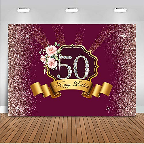 Mocsicka 50th Birthday Party Background Happy Birthday Silver Dots Pink Rose Backdrops Red Background 8x6ft Vinyl Photography Prop Video ()