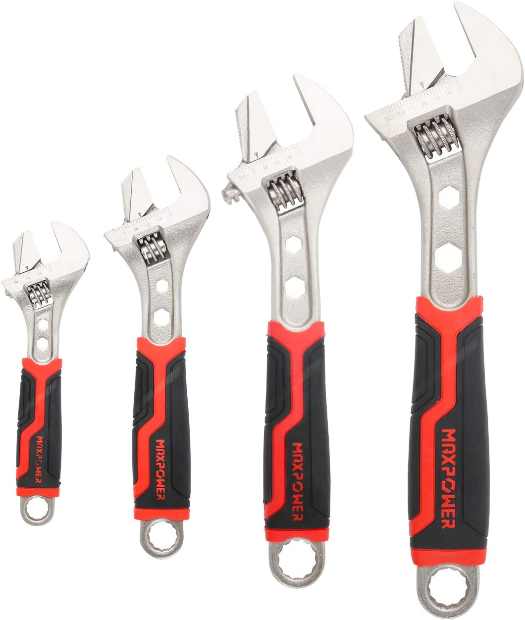 MAXPOWER 4 PCS Adjustable Wrench, Reversible Jaw Adjustable Spanner Wrench Set with Box End and Hex Function ( 6 in. 8 in. 10 in. 12 in. )