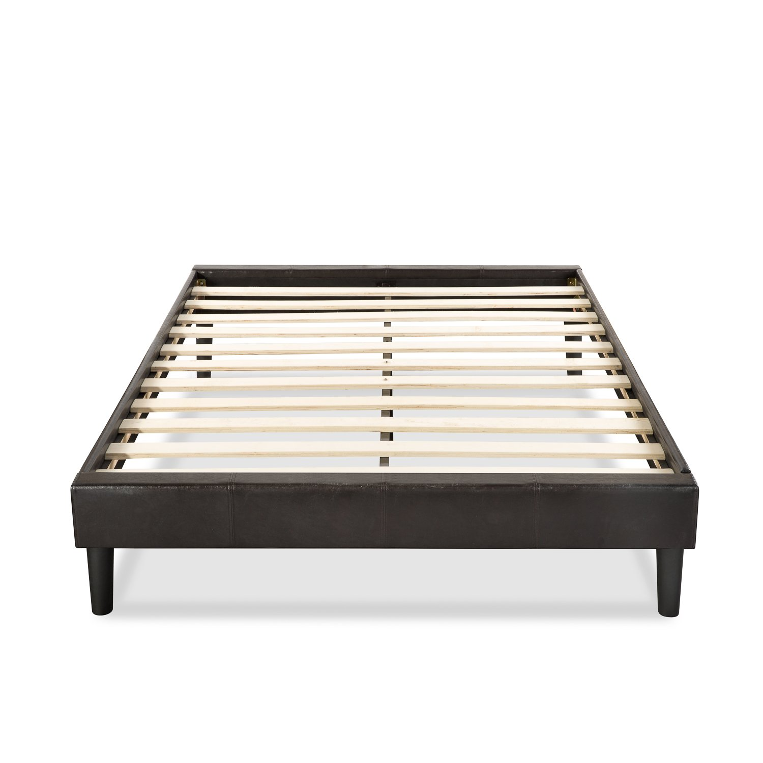 Amazon.com: Essential Faux Leather Upholstered Platform Bed Frame ...