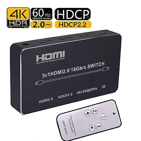 72bdeb0a1fd34 Amazon.com: 4K HDMI Switch HDMI2.0 3x1 3 Input 1 Output HDMI ...