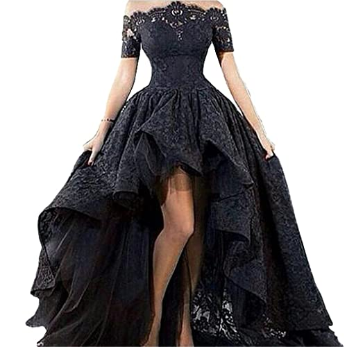 Diandiai Womens Hi Low Prom Dress Short Sleeve Lace Evening Dress 2018 Black Off The Shoulder