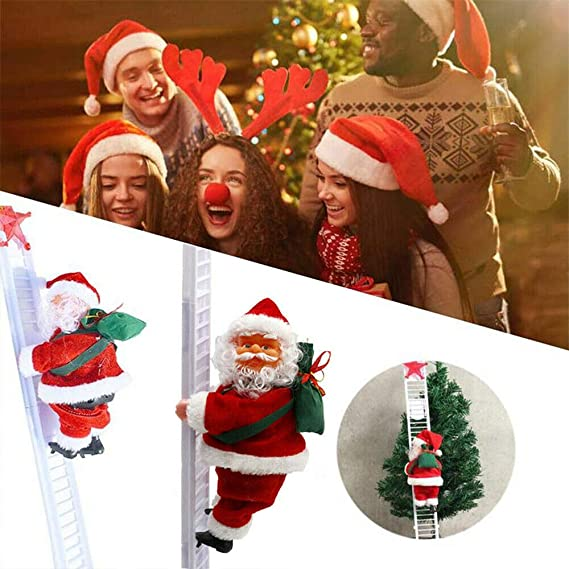 AETOSES Preciosa Escalera Eléctrica de Papá Noel, Creativo Subiendo y Bajando Muñeca de Peluche de Santa Claus con Música, para Fiesta de Navidad Puerta Decoración de Pared Regalos: Amazon.es: Hogar