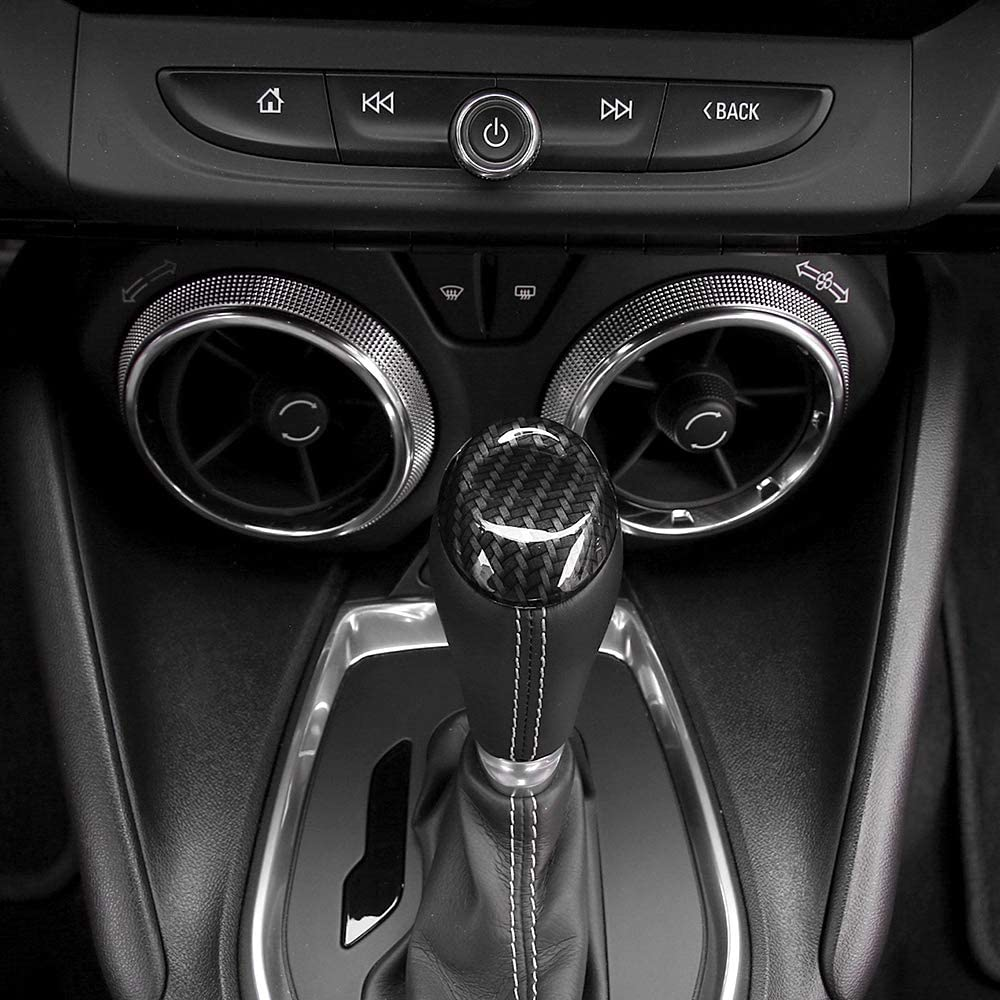 RT-TCZ Car Interior Accessories for Chevrolet Camaro Accessories Carbon Fiber Grain ABS Gear Shift Knob Frame Decoration Cover Trim for Chevrolet Camaro 2017 2018 2019 2020 Carbon Fiber