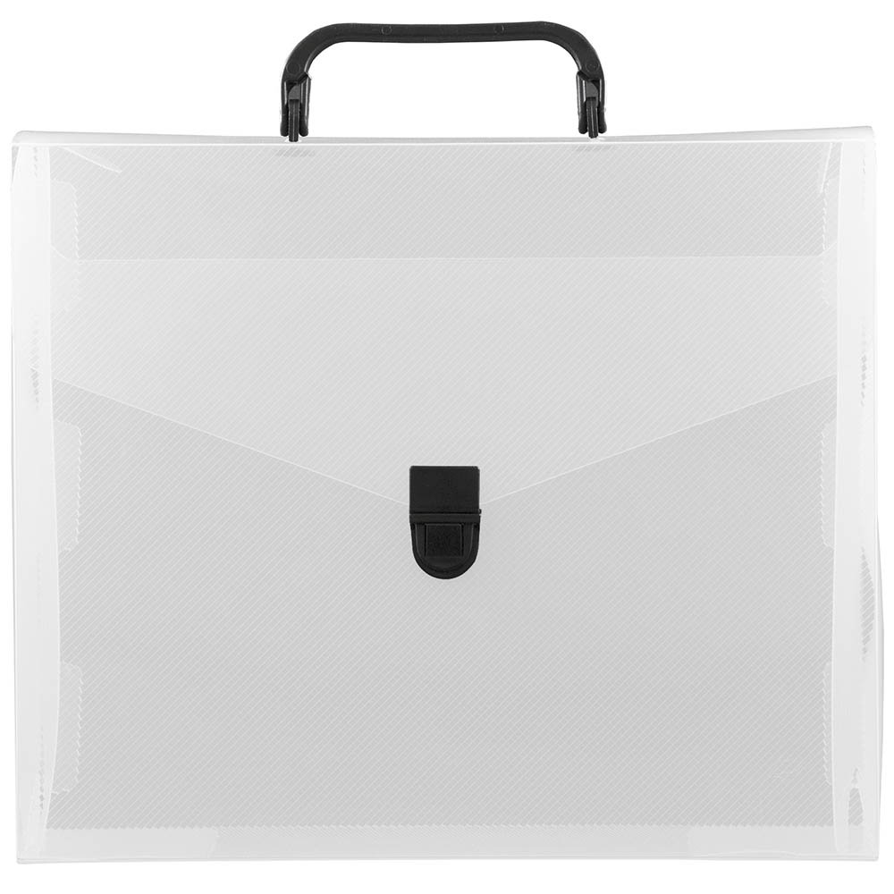 JAM Paper Plastic Portfolio File Carry Case with Handles - 10'' x 12'' x 4'' - Clear with Black Buckle - Sold Individually