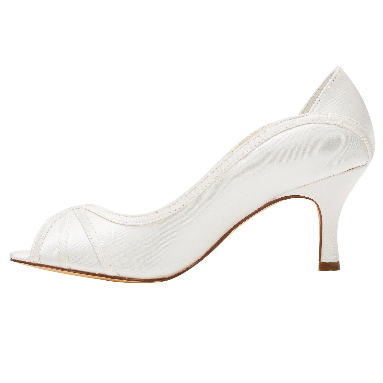 Damenschuhe Satin Satin Satin Frühling Sommer Komfort Stiletto Braut Brautjungfer Peep Toe Hochzeit Schuhe Low Heels Gummisohle Weiß a49ee2