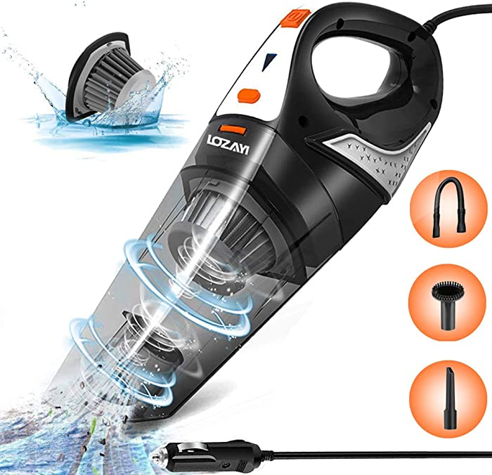 Car Vacuum,LOZAYI Corded Car Vacuum Cleaner High Power 5000PA Wet/Dry Portable Handheld Auto Vacuum Cleaner with 16.4FT Power Cord, Carry Bag, HEPA Filter for Quick Car Cleaning-Orange