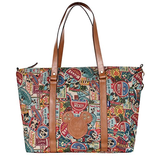 Vintage all bag disney shoulder Mickey Multicolore taille main mickey shopper sac purpose motif à Mouse fxtrwf5qY
