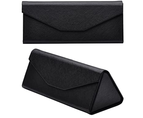 Qingsun Sunglasses Case Hard Carrying Protective Case Foldable Triangle Eyeglass Case Reading Glasses Shell Pouch with Cloth,Magnet Closure