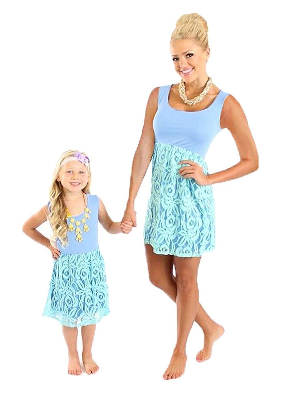 Minetom Mütter und Tochter Familie Sommerkleid Boho Ärmellose Kleider Weste A Linie Spitze Nähen Farbe Rock Strandkleid