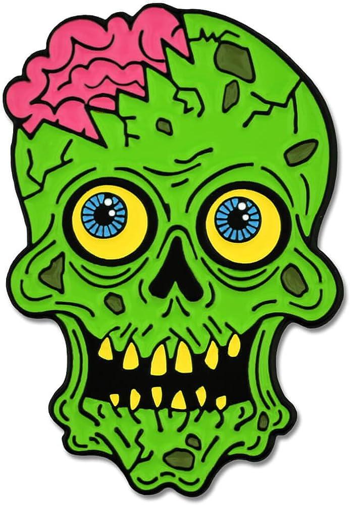 PinMart Green Zombie Skull and Brains Horror Halloween Enamel Lapel Pin