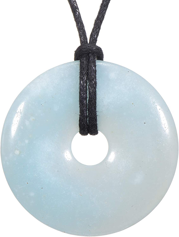 Morella Collar para Mujer 80 cm y Colgante de Gema en Forma de Donut en Bolsa de Terciopelo
