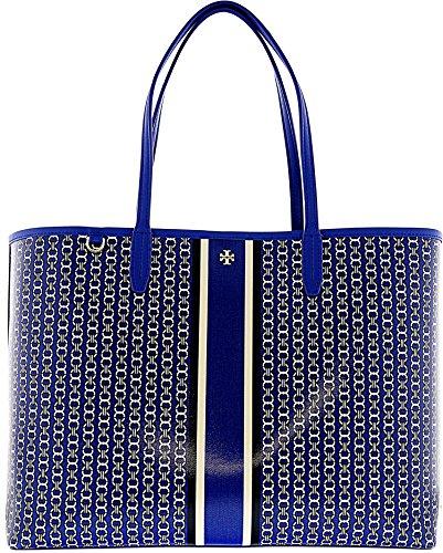 Tory Burch Gemini Link Canvas Tote Handbag in Jewel Blue Gemini Link Stripe Stripe Chain Link