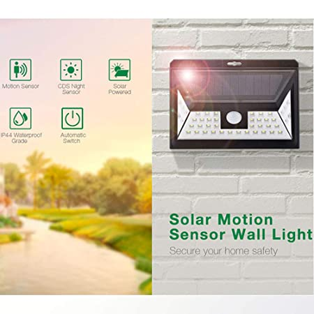 CRD PRODUCTS Wide Angle 44 LEDs Solar Light Outdoor Motion Sensor Garden Yard Solar-Powered Wall Porch Lamp 3 Adjustable Model Waterproof