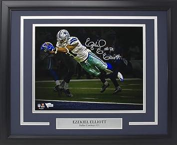 finest selection 2e760 7e6eb Amazon.com: Ezekiel Elliott Signed Framed Dallas Cowboys ...