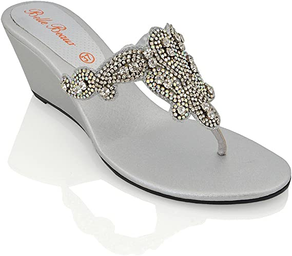 WOMENS LADIES FLAT DIAMANTE PARTY WEDDING TOE POST DRESSY SANDALS SHOES SIZE 3-8