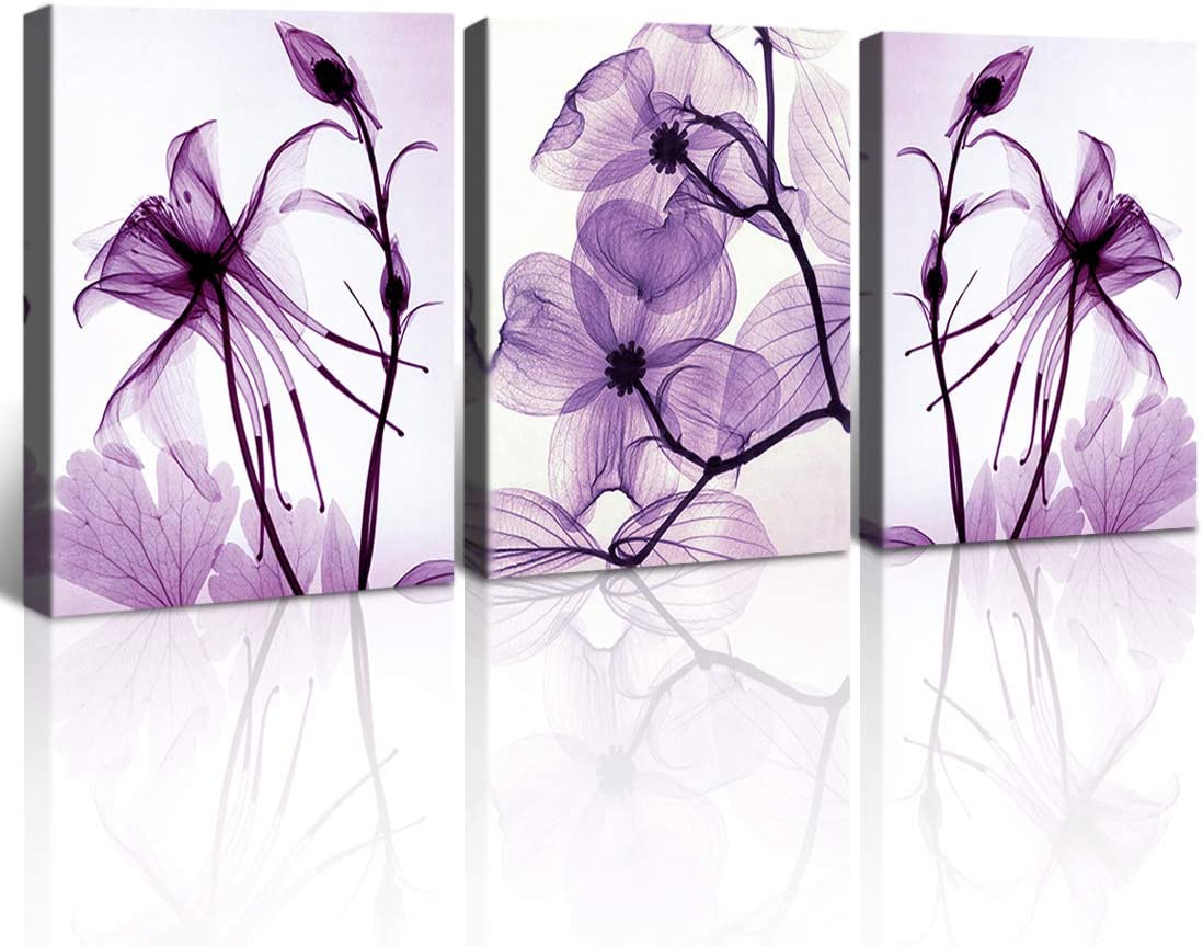 Purple Verbena Art 3pcs Unframed Modern Giclee Transparent Purple Flowers Pictures Prints on Canvas Walls Paintings, Contemporary HD Artwork for Hoem Bedroom Decor (No Frames) Each Piece 16x24 Inch