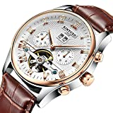 Swiss Men's Genuine Leather Tourbillon Automatic Mechanical Watch KINYUED Calendar Week Multifunctional Watch