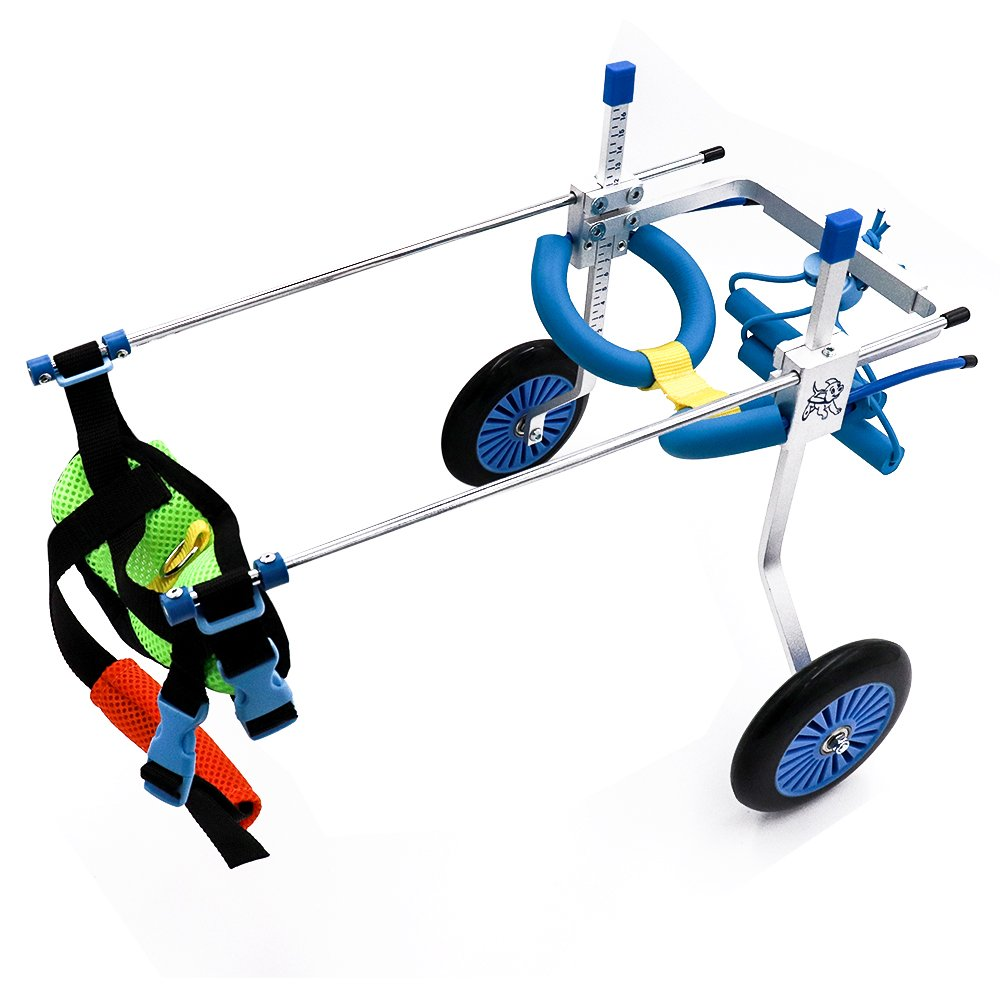 SURPCOS Adjustable Dog Pet Wheelchair, Front/Hind Legs Rehabilitation, 2 Wheels / 4 Wheels Dog Cart Wheels (2 Wheels-XS)