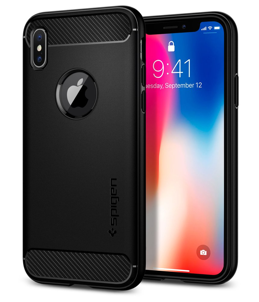 Spigen Rugged Armor iPhone X Case with Resilient Shock Absorption and Carbon Fiber Design for Apple iPhone X (2017) - Matte Black