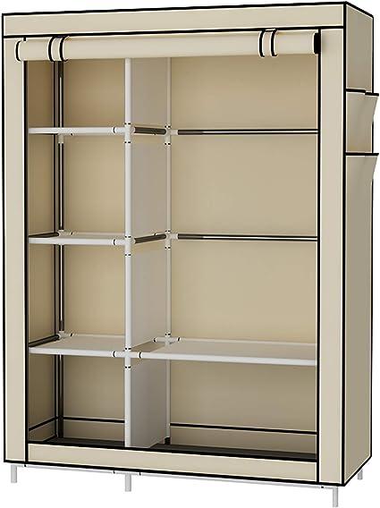 udear armoire toile armoire vetements rangement organisateur penderie de vetement pliable beige