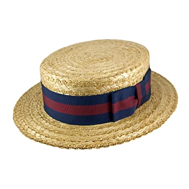 150e59d4 Village Hats Olney Hat Straw Boater Hat - Guards Band Natural 57:  Amazon.co.uk: Clothing