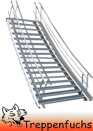 Escalera de acero con barandilla a ambos lados, robusta escalera exterior, escalera de mejilla, escalera industrial estable para exteriores, incluye accesorios, tamaño a elegir.: Amazon.es: Bricolaje y herramientas