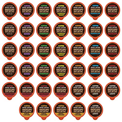 - EKOCUPS Organic & Fair Trade Gourmet Coffee Single Serve Cups for Keurig K Cup Brewer Variety Pack Sampler, 40 Count