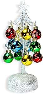 Glass Christmas Tree with LED Lights - White Iridescent Glitter with 12 Mini Ball Ornaments - 8 1/2