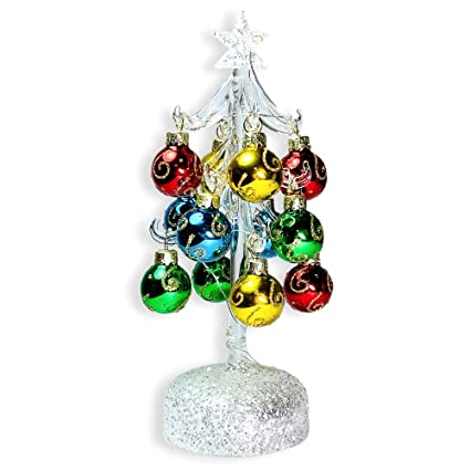 BANBERRY DESIGNS Glass Christmas Tree with LED Lights - White Iridescent  Glitter with 12 Mini Ball - Amazon.com: BANBERRY DESIGNS Glass Christmas Tree With LED Lights