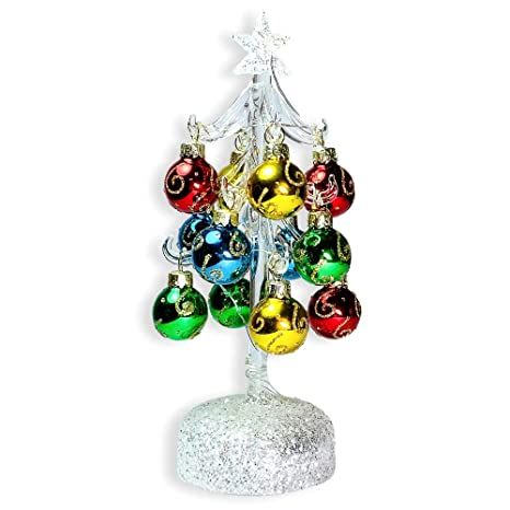 Banberry Designs Glass Christmas Tree With Led Lights White Iridescent Glitter With 12 Mini Ball Ornaments 8 1 2 H