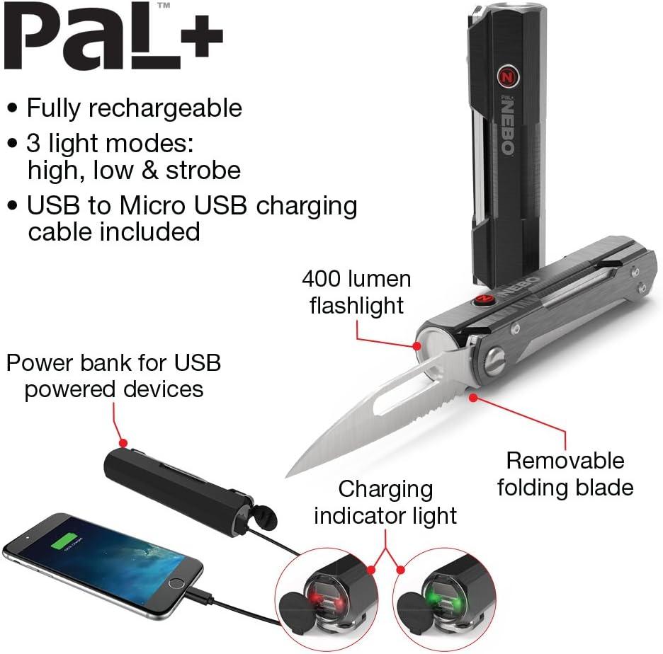 est un 1 en 3-Powerbank Nebo PAL lampe et couteau pliant Combo