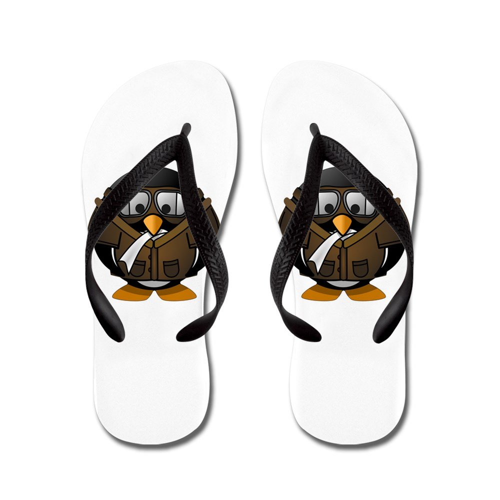 Airplane Jet Pilot Black Rubber Flip Flops Sandals 1-4 KDFLFLPLRPJTPILOT-MAR2017-BL Truly Teague Kids Little Round Penguin