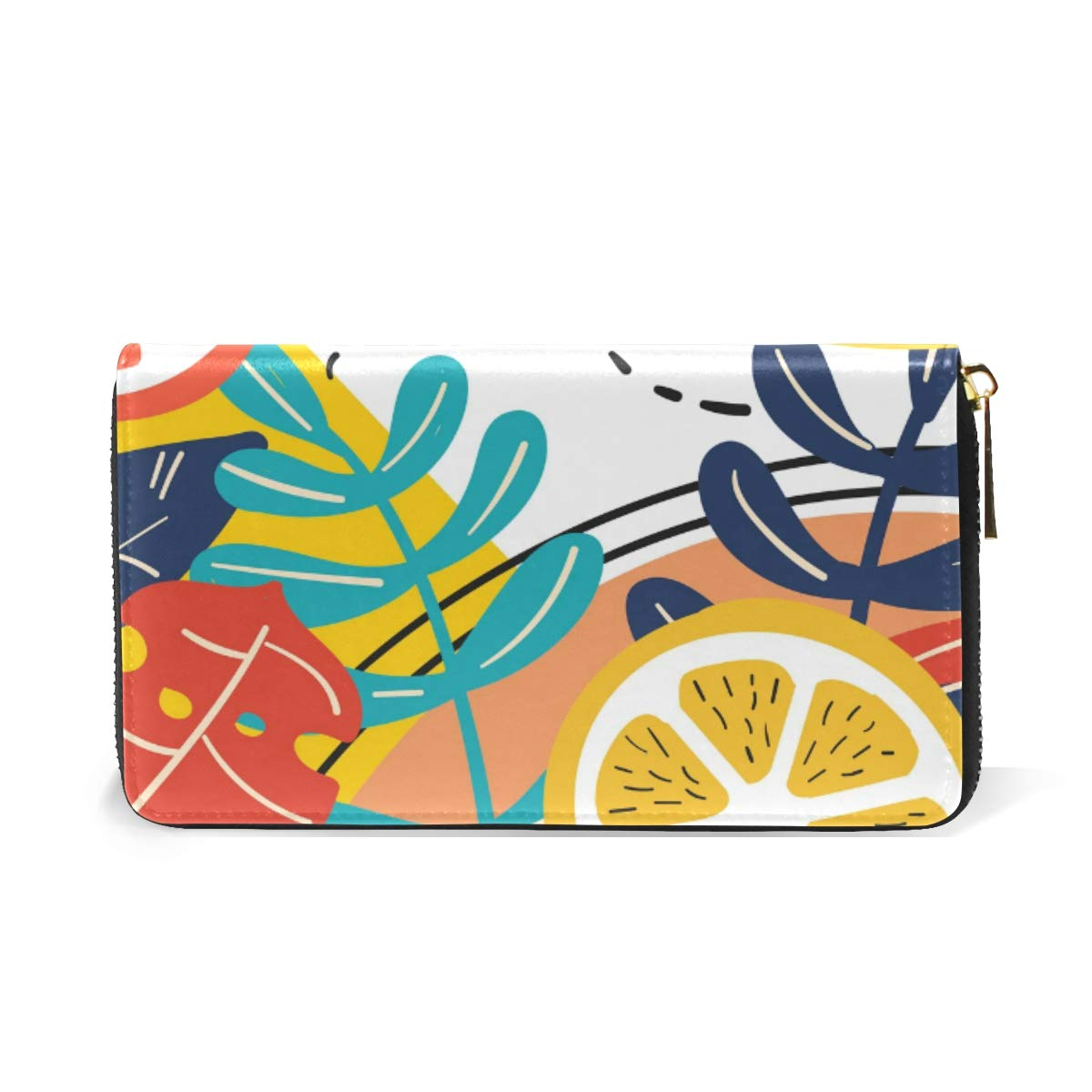 Women Wallet Coin Purse Phone Clutch Pouch Cash Bag Female Girl Card Change Holder Organizer Storage Key Hold Leather Elegant Handbag Party Birthday Gift Colorful Tropical Plants