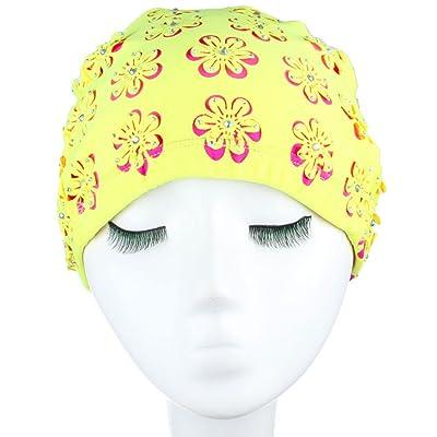 BUKUANG Mode Gravure Couleur Autocollants De Fleurs Tissus De Forage élastiques Femmes Bonnet De Bain,Yellow