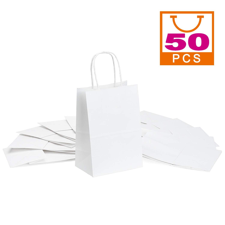 Amazon.com: Mesha – 50 bolsas de papel kraft blancas, para ...