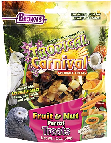 Browns Tropical Carnival Natural (F.M. Brown's Tropical Carnival Fruit & Nut Parrot Treat with Natural Fruits, Nuts, Seeds and Veggies, Excellent Reward for Training Parrots of All Sizes, 12oz)