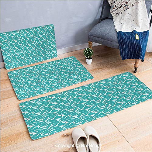 3 Piece Indoor Modern Anti-skid carpet Printed block bathroom carpet,Turquoise,Foliage Pattern with Lined Leaves Tropical Themed Image Graphic Stripes Decorative,Turquoise White,20x31/20x59/28x55 inch
