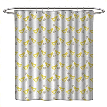 Anniutwo Grey And Yellow Shower Curtains Fabric Extra Long Vintage Modern Design Birds With Dots