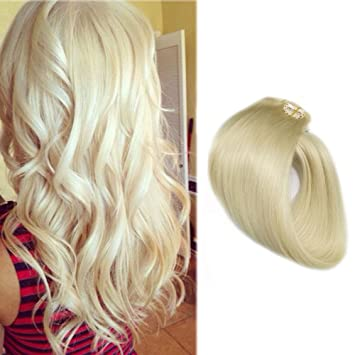 Amazon hair extensions clip on platinum blonde 22 inch clip hair extensions clip on platinum blonde 22 inch clip in human hair 7 pcs remy hair pmusecretfo Image collections