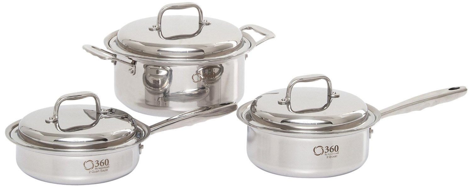 360 Stainless Steel Cookware Set, Handcrafted in the USA, Induction Cookware, Waterless Cookware, Dishwasher Safe, Oven Safe, Surgical Grade Stainless Steel Cookware, Pots and Pans Set 4 Piece Set
